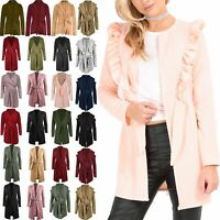 Womens Peplum Frill Waterfall Italian Blazers Ladies Belted Cape Cardigan Jacket