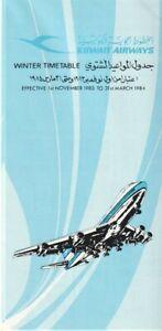 Kuwait Airways timetable 1983/11/01
