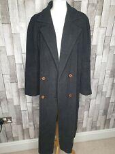Ladies Wool Cashmere Long Length Grey Top Coat Duffle Size Uk 12 Winter Coat