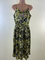 BNWT NEXT black yellow ditsy floral print strappy sun dress size 10 euro 38 £30