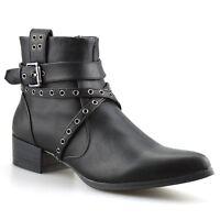 Ladies Womens Mid Block Heel Zip Up Chelsea Cowboy Biker Ankle Boots Shoes Size