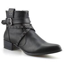 Señoras mujeres Mediados Bloque Talón Chelsea Cowboy Biker Cremallera Botas al Tobillo Zapatos Talla