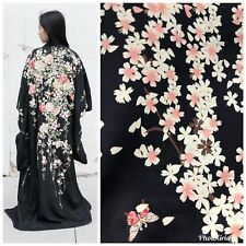 100% Silk Charmeuse Cherry Blossom Kimono Fabric By The Yard
