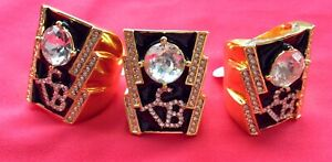 Elvis crystal TCB ring in Gold Colour size 13 USA  Z+1 UK Factory 2nd GRADE 1