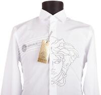 VERSACE Herrenhemd Hemd Langarm Neu MIT ETIKETT Weiß Luxus Gr S