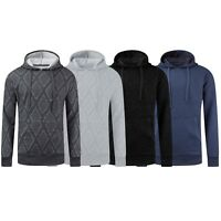 NEW Men Quilted Hoody Sweater Pullover Long Sleeve Sweatshirt Sizes S-2XL Black