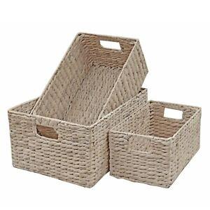 Wicker Storage Basket Shelf Drawer White Washed Natural Water Hyacinth