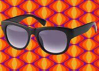 A548✪ Hippie Sonnenbrille 60er 70er Jahre Kult Schlager Hornbrille schwarz