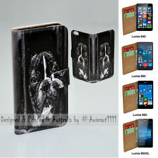 For Lumia 950XL 950 650 640 - Dog in Cage Print Flip Wallet Phone Case Cover