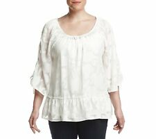NEW NWT Democracy Plus Size Layered Cami Sheer Tie Sleeve Peasant Blouse 3X