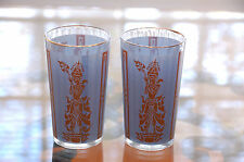 "Culver Vintage Two (2) South Asian Thai Burmese Blue & Gold Glass 5"" Tumblers"