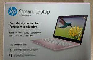 "HP Stream 14"" HD Intel N4000 4GB 64GB Webcam Microsoft Office 365 Pink NEW"