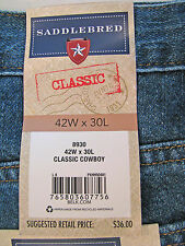 Saddlebred Classic Cowboy Fit Jeans 42x30 Blue New with Tags