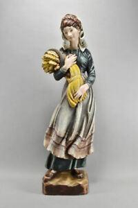 k66v13- Figur, Frau mit Ähren/ Herbst/ Ceres, Holz geschnitzt