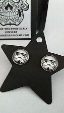 "STORM TROOPER EARRINGS stainless steel! 12mm ""handcrafted"" brand new! star wars!"