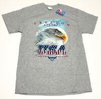 Mens USA United We Stand T-shirt Patriotic Size M NWT Bald Eagle Gray Freedom