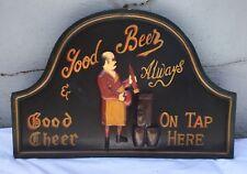 Vintage Wooden Bar Sign Beer Good Cheer Man Cave Decor On Tap Liquor Drinking
