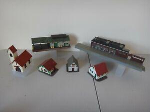 6 PLASTIC HELJAN & FALLER HO GAUGE MODEL RAILWAY SCENERY BUILDINGS