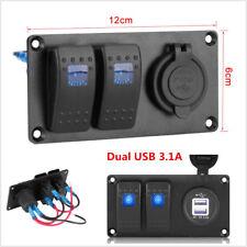 2-Gang Blue LED Rocker Switch Panel Circuit Breaker Dual USB Charger Car Truck