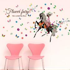 Removable Vinyl Wall Decal fairy horse Girl Sticker Home Room DIY Home Decor