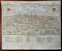 Poitiers France Buttiers 1598 Munster Cosmography wood cut print city view