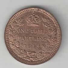 GREAT BRITAIN, 1913,   1/3 FARTHING,  BRONZE,  KM#823,  BRILLIANT UNCIRCULATED