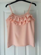 Ladies string shoulder frilled top peach size 10