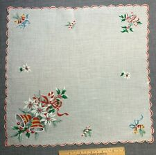 Vintage Cotton Christmas Holiday Hankie Handkerchief Bell CandyCanes Novelty Nos