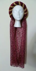 Dark Red Medieval Headdress MADE TO ORDER Gothic Headpiece Pagan Circlet Hat