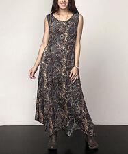 Maxi Dress Size UK 10 Brown Paisley Reborn Collection Sleeveless BNWT rrp£35 #55