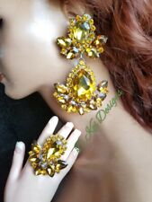 Drag Queen Jewelry topaz gold pageant show LARGE Ring earrings other colors