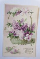 Easter, Basket, Lilac, Easter Eggs, 1906, Embossed Postcard (71073)