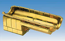 Milodon 31167 Steel Gold Zinc Plated Strip and Serious Street Oil Pan for Small Block Chevy