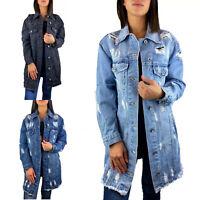 DAMEN JEANSJACKE LANG OVERSIZE BLUE DESTROYED STONE WASH DENIM JACKE MANTEL S-L