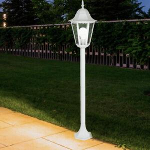 Außen Steh Leuchte ALU Laterne Terrassen Beleuchtung Garten Hof Wege Lampe weiß