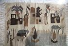"Vintage Egyptian Woven Wool Fringed Area Rug 54"" x 38"" Handmade Palm Tree Donkey"