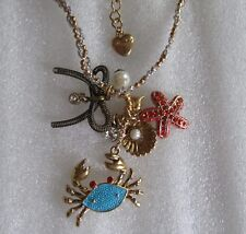 Betsey Johnson Shell Crab Starfish Necklace
