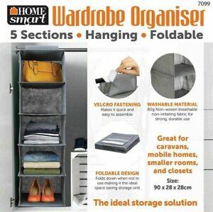 5 Section Shelves Hanging Wardrobe Shoe Garment Organiser Storage Clothes Tidy