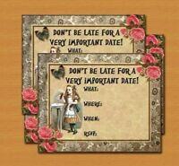 Alice In Wonderland Vintage Tea Party Invitations *12 Card Invites + Envelopes*