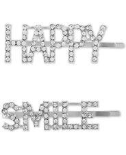 Guess 2-Pc. Silver-Tone Pave Happy Smile Bobby Pin Set