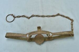 Vintage S NEWHOUSE NO 2 ANIMAL TRAP ONEIDA COMMUNITY NY COMPLETE w CHAIN #01151
