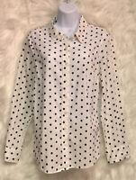 CROWN & IVY L/S 100% Cotton White/Navy Polka Dot Button Front Top Sz L - EUC