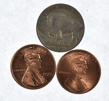 1c 1999 & 2000 Lincoln Cent Broadstrike Unc Error 2 Coin Lot - BU