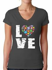 Autism Awareness V-neck T shirts Shirts Tops  Women's Love Puzzle