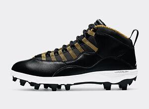 Nike Air Jordan X 10 TD Mid Football Cleat Black/White/Gold SIZE 14 XI IV I bred
