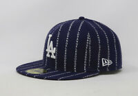 New Era 59Fifty Hat Mens MLB Los Angeles Dodgers Word Pinstripe Blue Fitted Cap