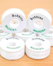 20 GENUINE MADEIRA PRE WOUND WHITE POLYESTER EMBROIDERY MACHINE BOBBINS