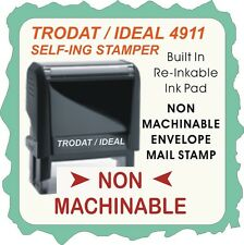 Non Machinable, mailing stamp. Trodat / Ideal Self Ink rubber stamp 4911 Red Ink