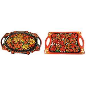 Tray Russian Khokhloma Wooden Hand-painted Handmade Kitchen New 1 pc