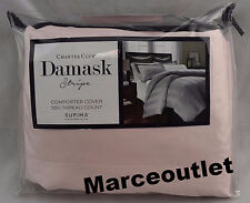 Charter Club Damask Stripe 550 Thread Count TWIN Duvet Cover Cotton Candy